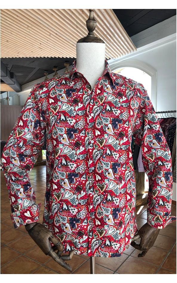 Chemise homme rouge imprimés coeurs | ABH Collection JÁVEA