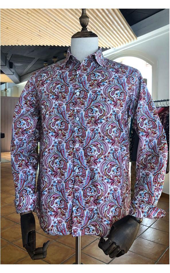 Camisa de hombre estampado cachemir rosa | ABH Collection JÁVEA