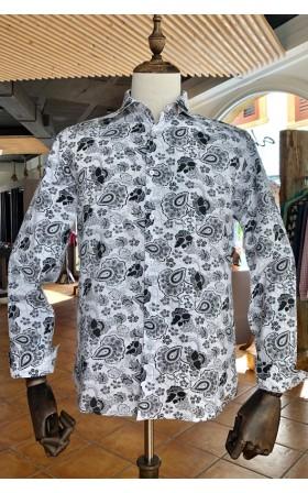 ABH Collection JÁVEA Camisa de hombre estampada flores negras