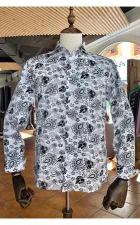 ABH Collection JÁVEA Chemise homme motif fleurs noires