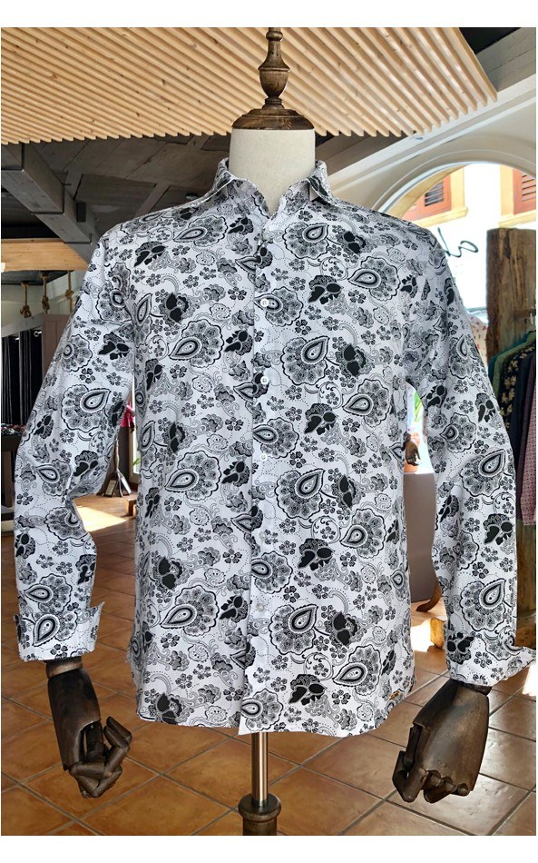 ABH Collection JÁVEA Black flowers pattern men's shirt