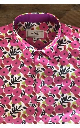 ABH Collection JÁVEA pink flowers pattern men's shirt