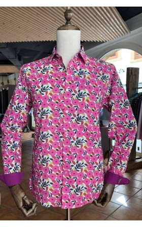 ABH Collection JÁVEA pink flowers pattern men's shirt