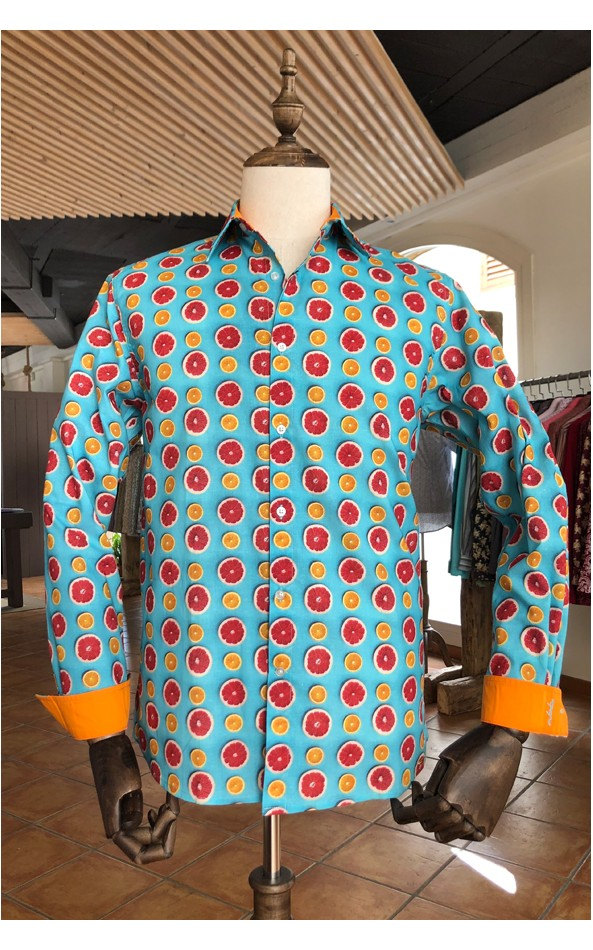 ABH Collection JÁVEA Citrus pattern men's shirt